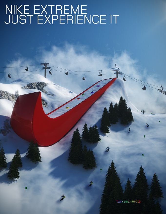 Nike experiential advertising campaign: I Observed That The Campaigns, Logos, Skiing, Marketing, Advertising, Sports, Funnies Commercial, Design, Nikes Extreme