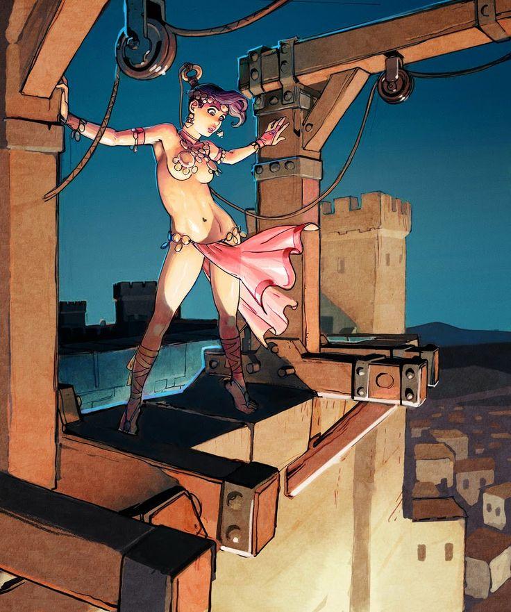 Aquí hay una doncella casi desnuda y sexy Por Joel Jurion - Comic-7182