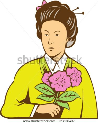 illustration of a Japanese woman in kimono holding flowers - stock vector #mother #retro #illustration