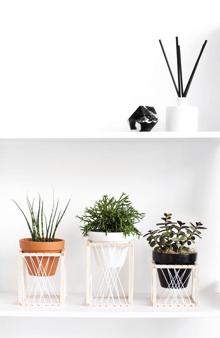 DIY String Art Plant Stands