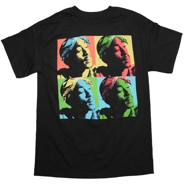 Tupac T Shirt Tupac Pop Art T-Shirt (420 MXN) ❤ liked on Polyvore featuring tops, t-shirts and pop art t shirt