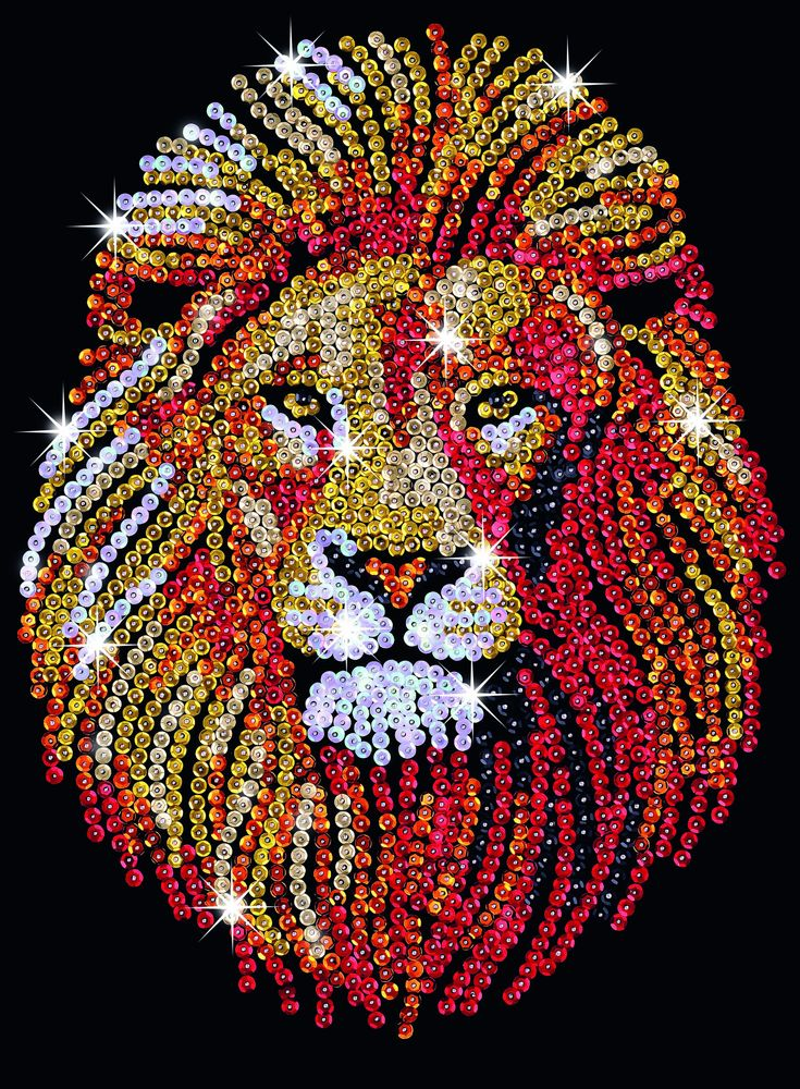 Hobbies | Sequin Art Lion Craft Kit | Hobbies. You could draw your own lion or trace on and fill in with sequins.