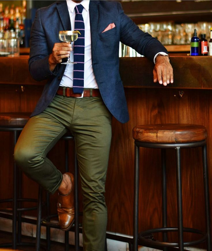 Not a fan of the pocket square, nor the shoes with no socks, but I LOVE the olive slacks.