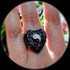 Anillo Orgonita-facetado Corazón ying yang