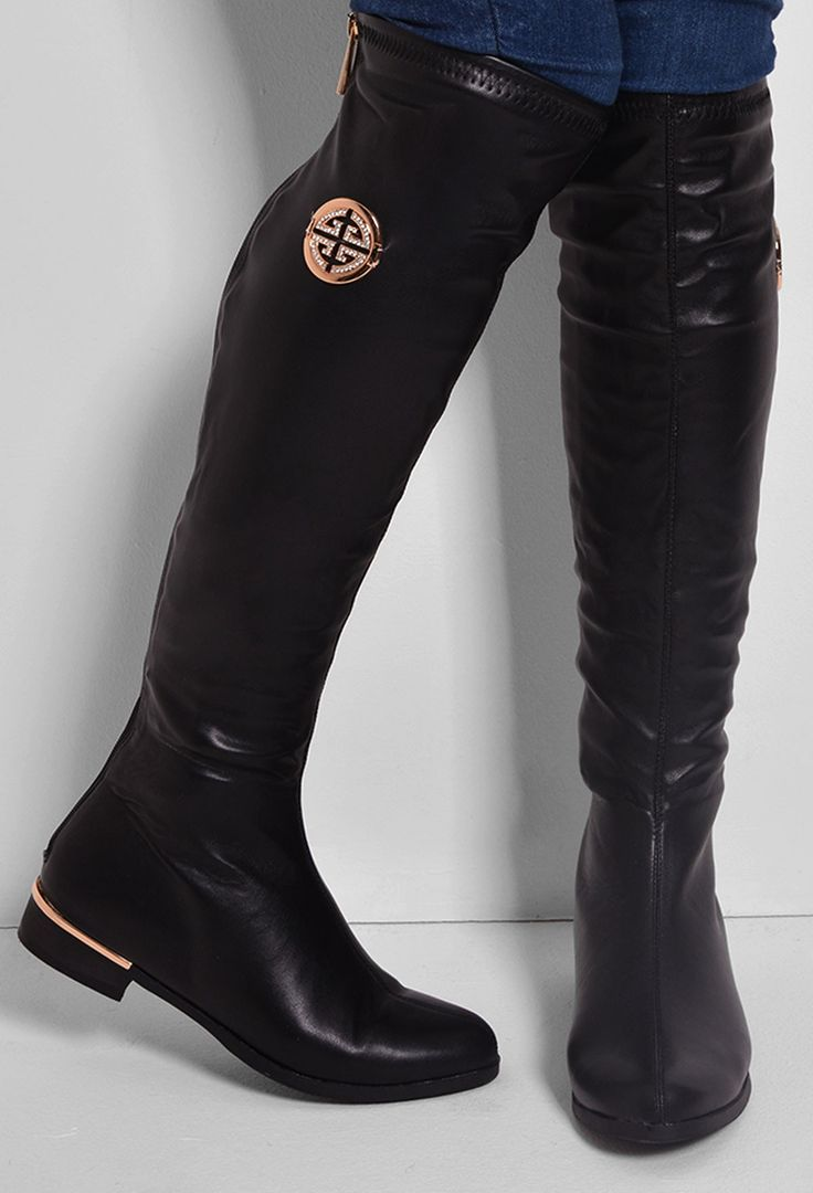 Madonna Black Faux Leather Knee High Boots