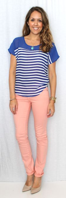 Js Everyday Fashion wearing our A Day in the Sun Blouse and Peach Skinnies by Judy Blue