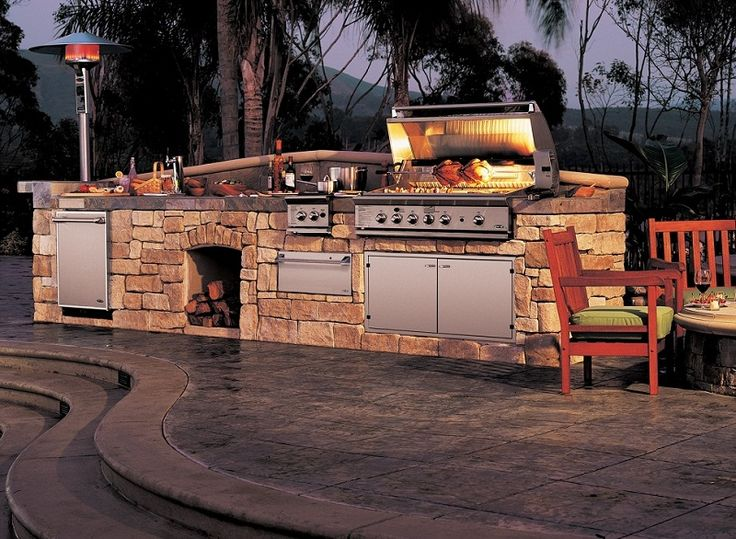 Decoration:Outdoor Kitchen Design Ideas Stainless Steel Gas Oven With Fire Place With Stainless Steel Pan On Gas Stoves Red Beer Pull Down Chrom Faucets Rock Kitchen Island With Porcelain Floor Tiles And Stairs Drinkware Wooden Sofa Charming Fresh Kitchen Cabinets Trend 2014