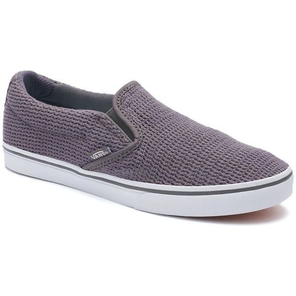 Vans Asher Women's Slip-On Skate Shoes (48 NZD) ❤ liked on Polyvore featuring shoes, sneakers, dark grey, slip on trainers, low top, pull on sneakers, low profile sneakers and print shoes