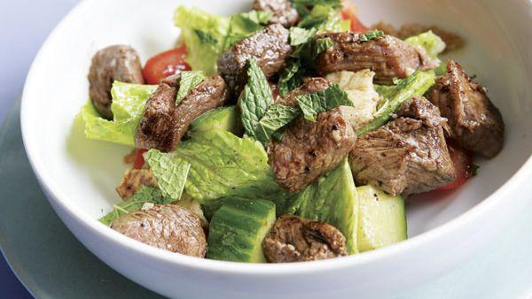 Grilled Lamb Kebab Salad with Cucumber, Tomatoes & Pita - Recipe - FineCooking