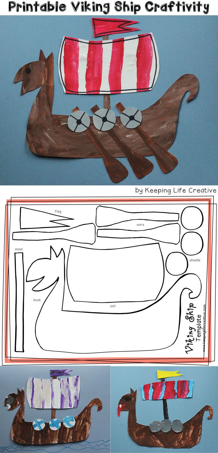 Creative Learning | Paint or color, cut, and assemble a simple Viking Ship craft with this template.