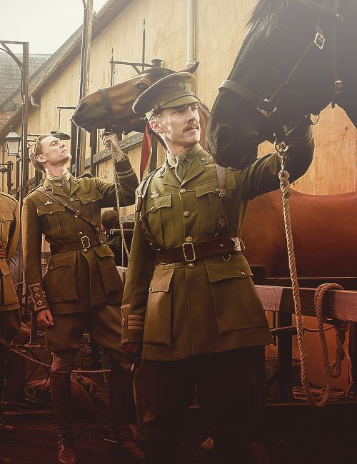 Tom Hiddleston and Benedict Cumberbatch in War Horse. Tom was so jealous of Benedict's moustache.