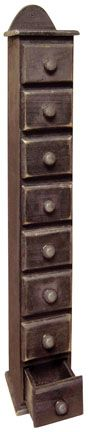 Primitive Spice Box: Black Tall, Spice Cabinets, Decorating Ideas, Country Decor, Tall Drawer, Spices