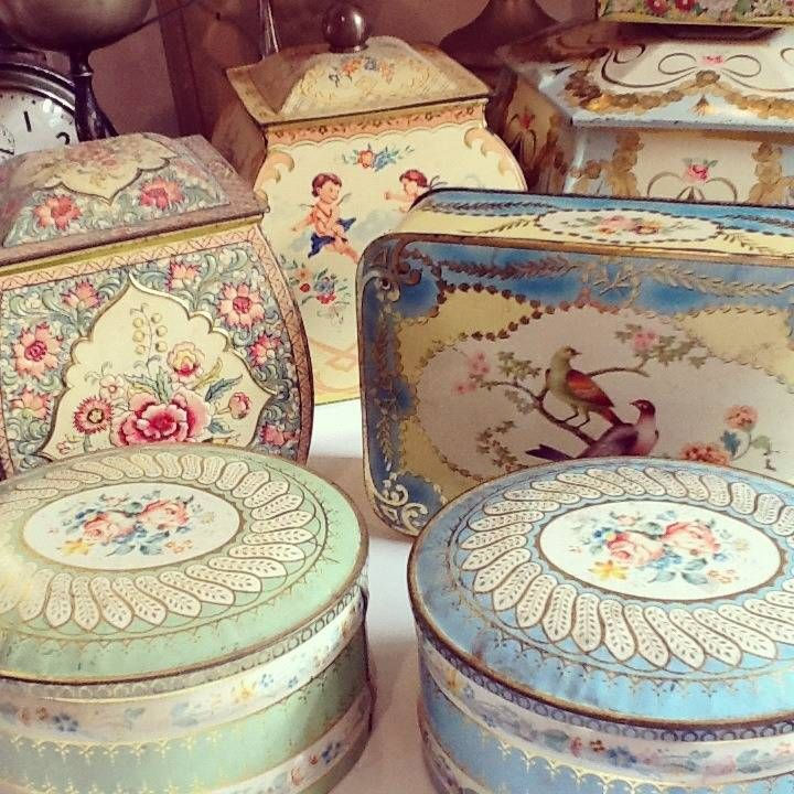#Vintage Decorative Tins. pastel florals