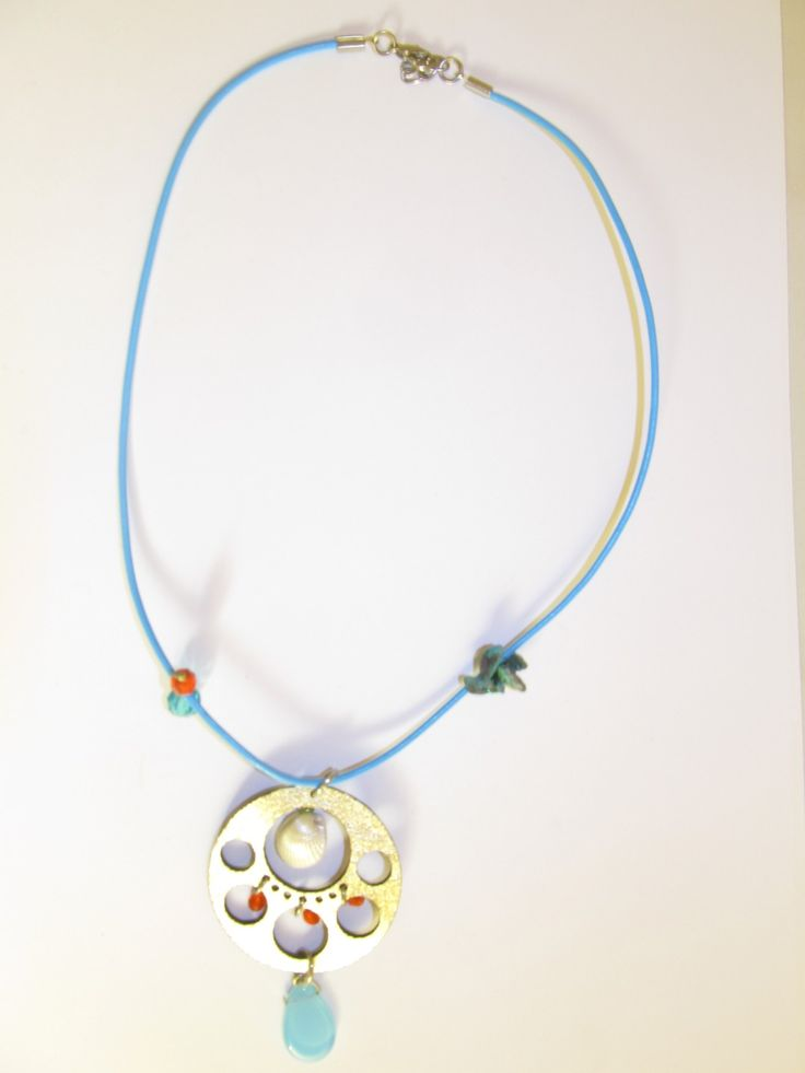 Handmade short leather necklace (1 pc)  Made with leather filigree, light blue leather cord, plastic white shell, glass beads and turquoise stones.
