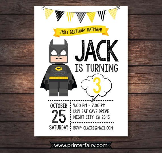 Lego Batman Birthday Party Lego Batman Invitations by PrinterFairy