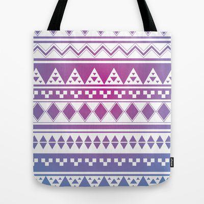 Rainbow Aztec Tote Bag by clickybird - Belinda Gillies - $22.00