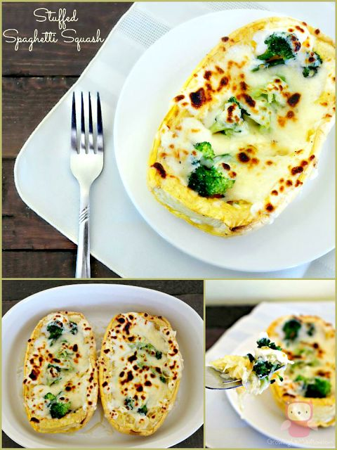 Chicken & Broccoli Stuffed Spaghetti Squash with Homemade Garlic Parmesan Sauce  | Growing up Madison