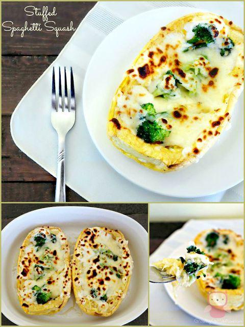 Chicken & Broccoli Stuffed Spaghetti Squash with Homemade Garlic Parmesan Sauce  | Growing up Madison