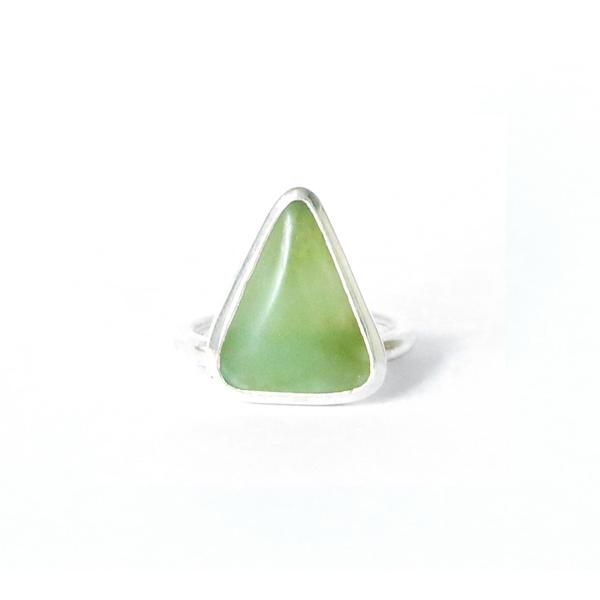 Triangle Ring Toru New Zealand Pounamu Greenstone and Sterling Silver Contemporary jewellery