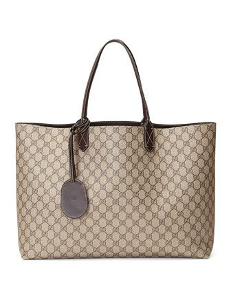Reversible+Large+GG+Tote+Bag,+Brown+by+Gucci+at+Neiman+Marcus.