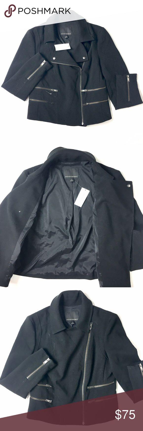 Banana Republic Moto Jacket Banana Republic jacket in moto style. Black, multiple zipper pocket detail, zipper sleeves. New with tags in a size 4. Retail $149. Banana Republic Jackets & Coats