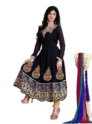 Radiant Black Semi-Stitched Georgette Embroidered  Anarkali  Suit
