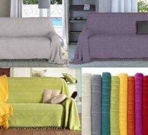 Changer le look de son canapé sans se ruiner ! Découvrez les housses et les plaids de tous coloris..
