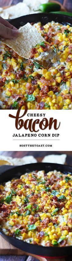 Cheesy #Bacon #Jalapeno Corn #Dip.  The sprinkle of basil seems weird but it's so amazing.  This is a new football Sunday must-have.  Game day #appetizer at its finest!  | http://hostthetoast.com