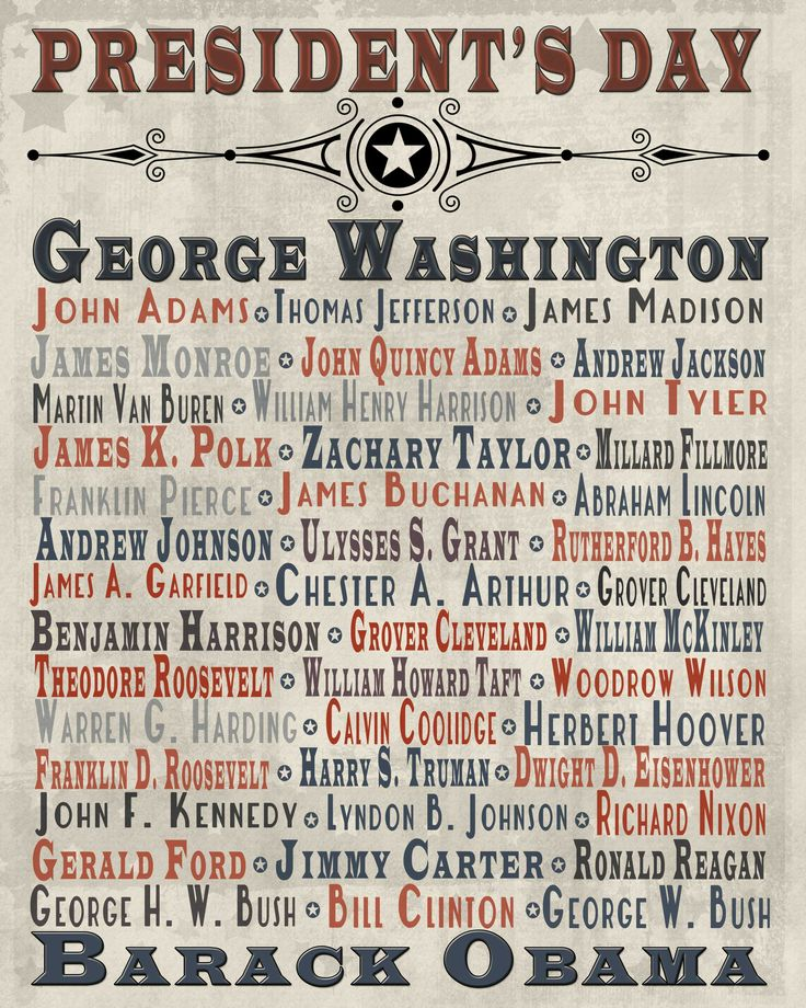 This is an image of Clean Printable List of Presidents in Order