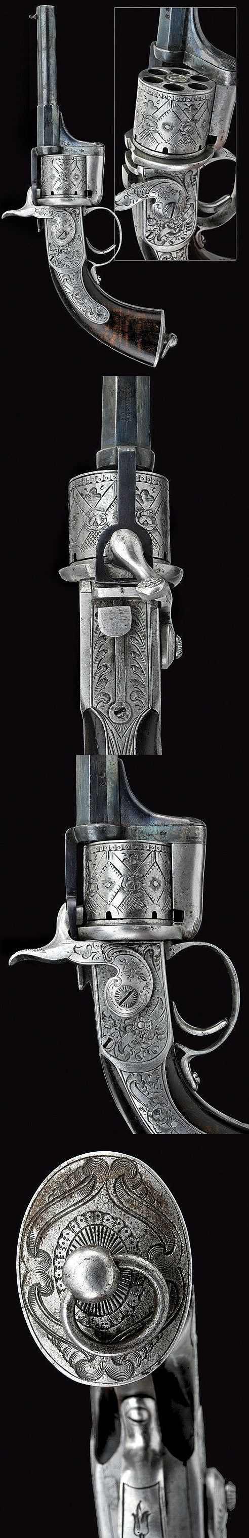 "A rare ""Eyraud"" pin-fire revolver, France, 19th century."