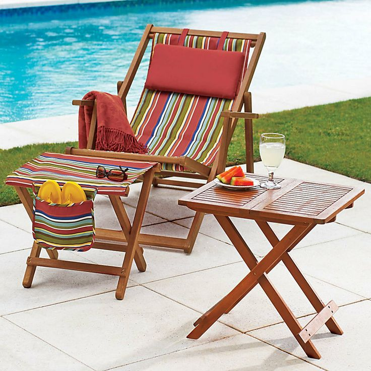 Folding Chair and Ottoman. Use it on your small deck, by the pool or fold it up and take it with you to use it as a beach chair.: Beach Chairs, Wood Chairs, Deck Chairs, Beaches Chairs, Small Decks, Decks Ottomans, Decks Chairs, Folding Decks, Folding Chairs