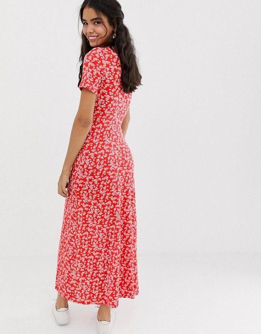 590d32a5e ASOS DESIGN button through maxi tea dress with splits in ditsy print   ASOS