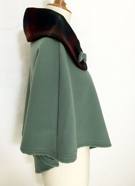 cape femme col claudine noeud laine cachemire liberty mode vert olive  carreaux hiver couture création