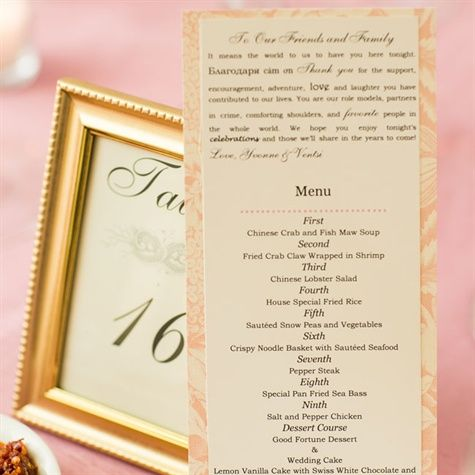 Pink And White Menu Cards