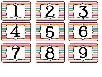 Multicolored Book Box Number Labels