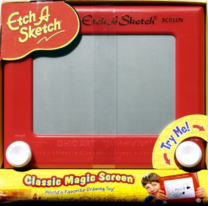 Never too old for etch a sketch.  Etch-A-Sketch Drawing Screen.  The Worlds favorite Drawing toy with over 150 million sold  This Classic toy has beaten the test of time.  The Etch-A-Sketch was first marketed in 1960, developed in the late 1950s by Frenchman Arthur Granjean. Fun and easy to use, turn the right knob to draw up and down, the left to draw horizontally of a compination of both for curves.  When finished turn over and shake to start over.