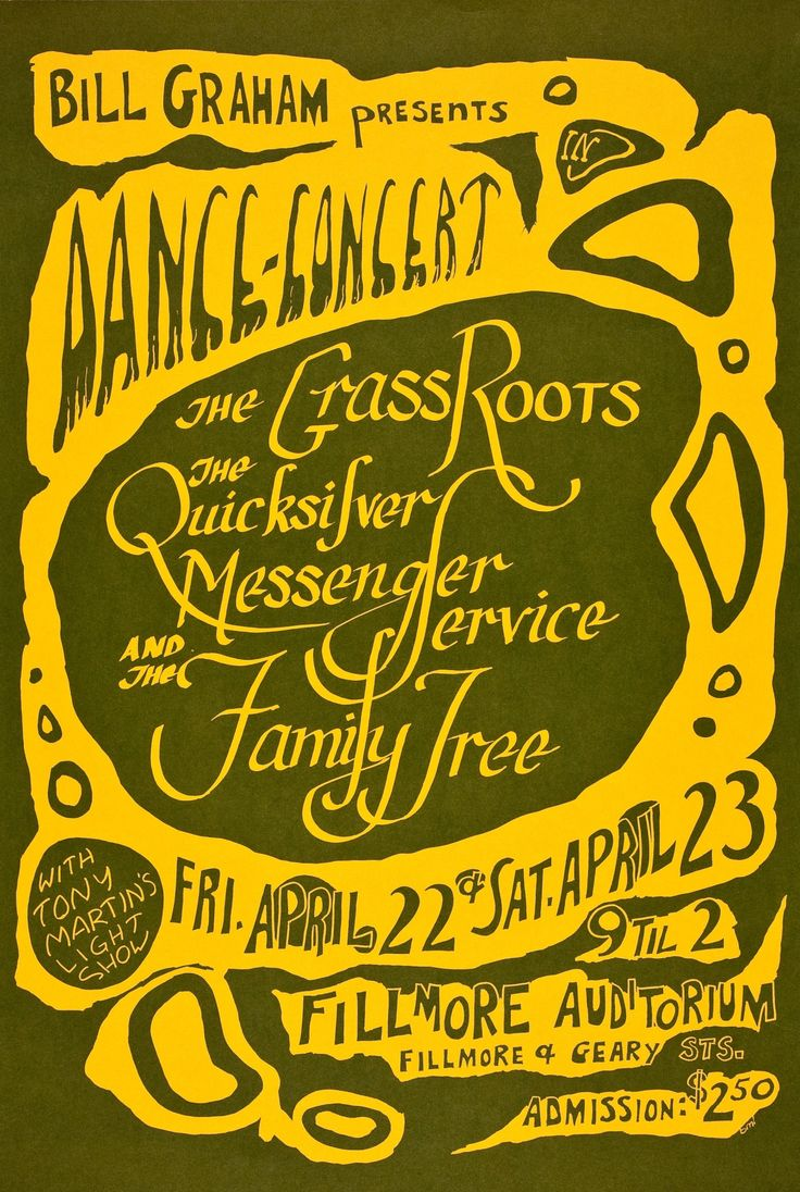 The Grass Roots/Quicksilver Messenger Service/The Family Tree, April 22 & 23, 1966 -  Fillmore Auditorium (San Francisco, CA.) Art by Bonnie MacLean