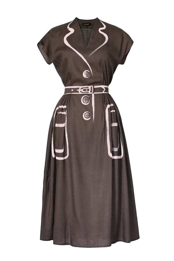 Платье Hermeselle серо-коричневое