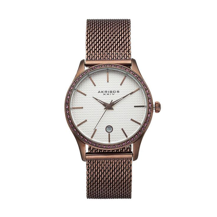 Akribos Xxiv Women's Glimmer Crystal Stainless Steel Mesh Watch, Brown