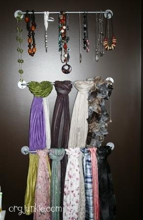 organize scarves with towel rod