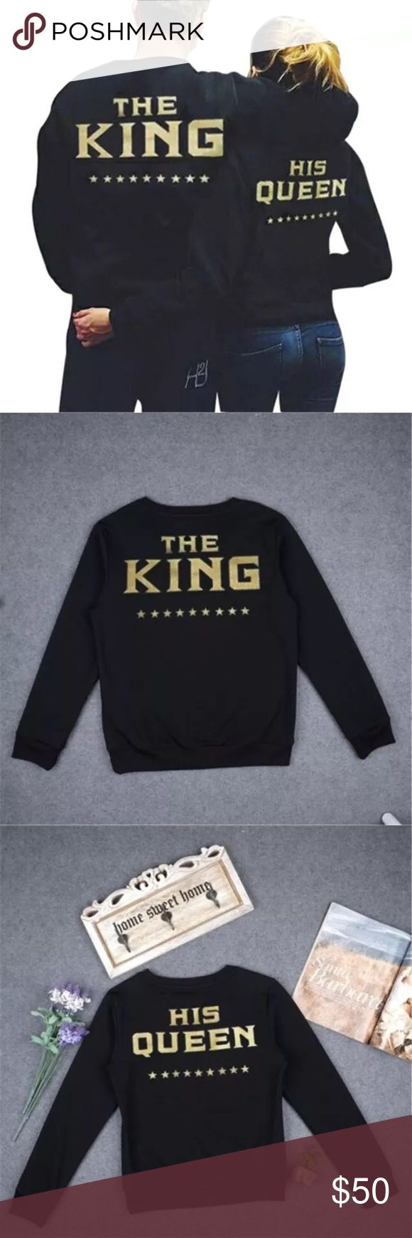 Couples king/queen sweatshirt price is for both Couples queen and king sweat shirt. 100% polyester.,ask me to bundle both sizes. (Does not get 15% off for bundles) make me a reasonable offer. Price is for both shirts Tops Sweatshirts & Hoodies