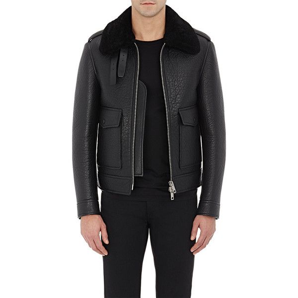 Burberry XO Barneys New York Shearling Aviator Jacket ($4,895) ❤ liked on Polyvore featuring men's fashion, men's clothing, men's outerwear, men's jackets and black