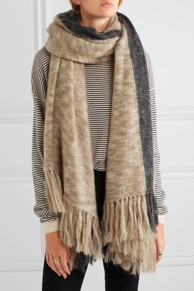 Isabel Marant | Izia fringed two-tone mohair-blend scarf | NET-A-PORTER.COM