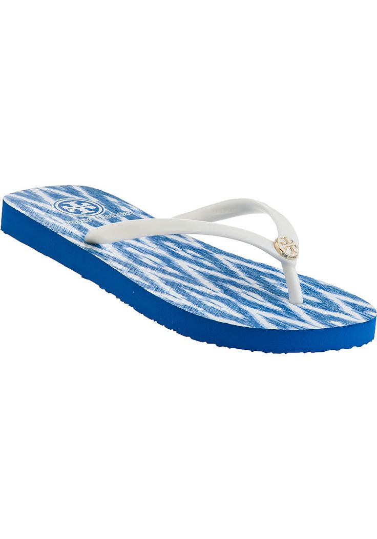 Tory Burch royal blue and white flip flops