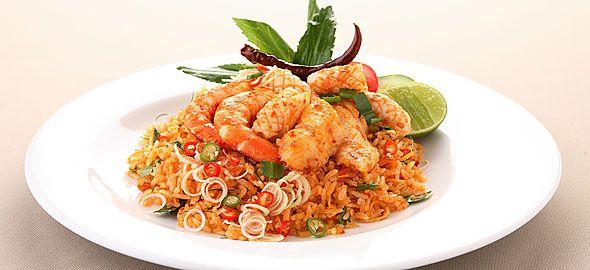 Thai ρύζι με γαρίδες