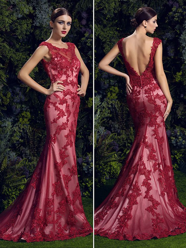 Homecoming TS Couture Formal Evening Dress - Ruby Trumpet/Mermaid Scoop Court Train Lace - USD $ 399.99