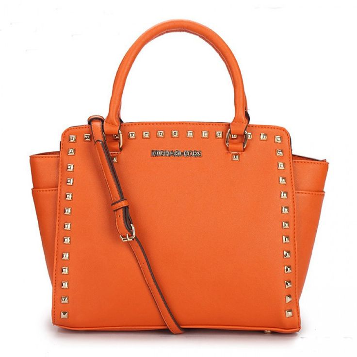 MICHAEL Michael Kors Large Selma Studded Saffiano Tote in Black in Orange