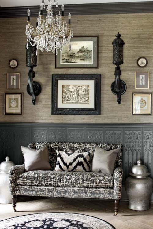 Black, Grey And White Palette Looks Elegant   Love The Detail On  Wainscoting! Mixture Of Patterns On Sofa And Large Silver Jars Add More  Texture.
