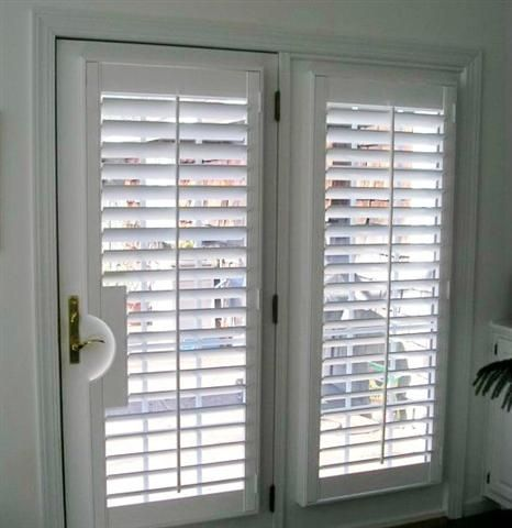 Wood shutters for french doors boyd s blinds and drapes - Hunter douglas interior shutters ...