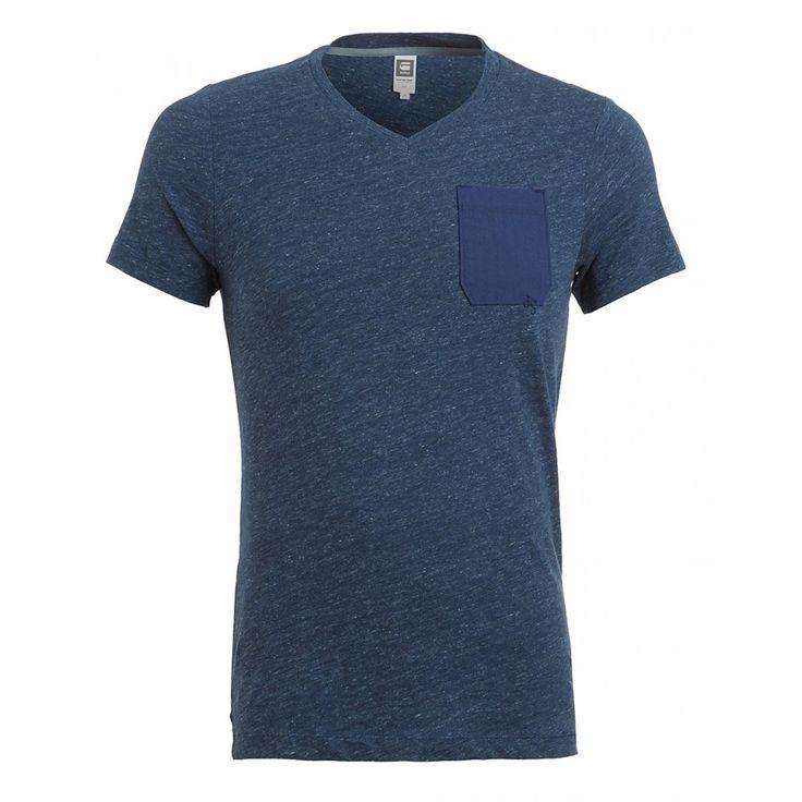 G-Star Blue Melange Chest Pocket T-Shirt